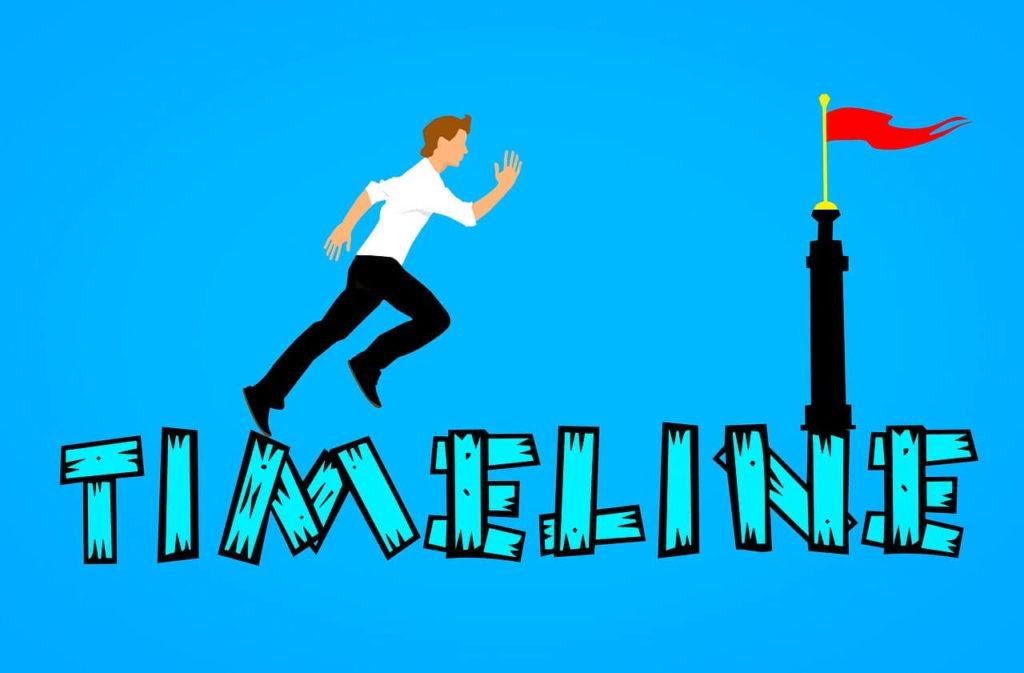 タイムラインと走る男性