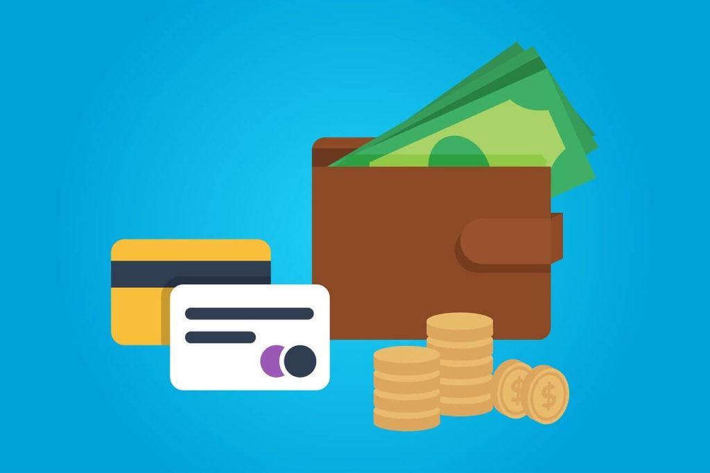財布とカードとコイン