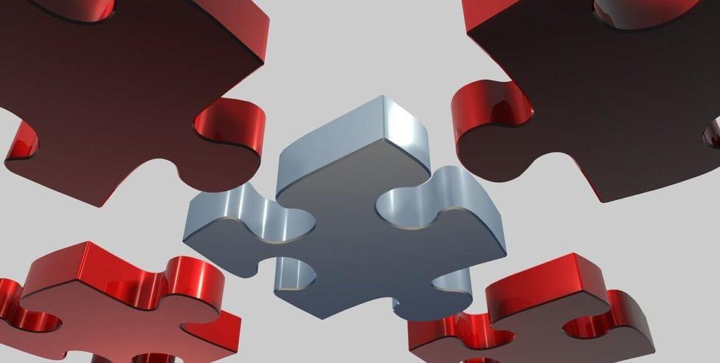 白いパズルに集まる赤いパズル