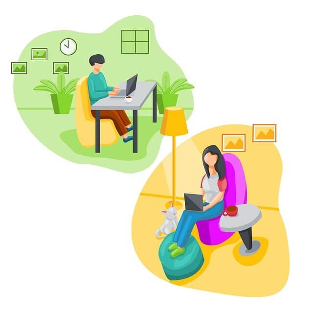 PC作業をしている男性と女性
